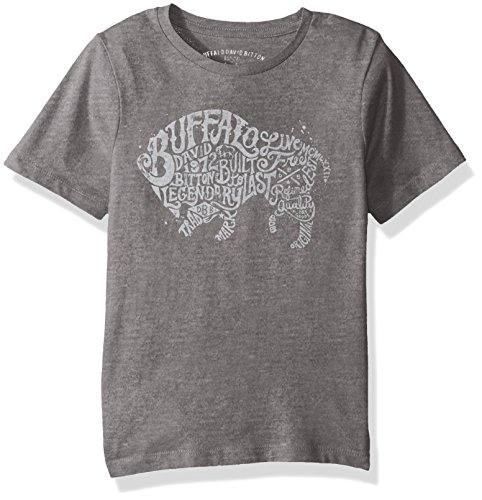 Buffalo by David Bitton Big Boys' Typo UNO Tee Shirt, Medium Grey Heather, Small (8)