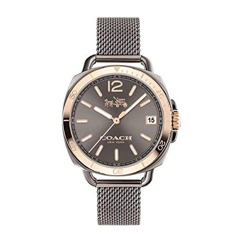 Coach Womens Tatum Gunmetal Stainless Mesh Bracelet Watch