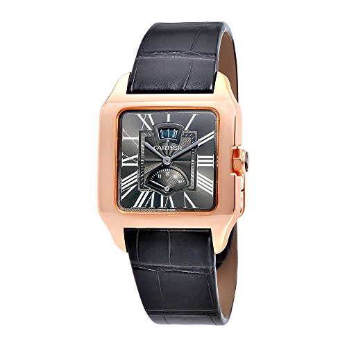 Cartier Santos Dumont Gray Galvanized Flinque Dial Mens Watch