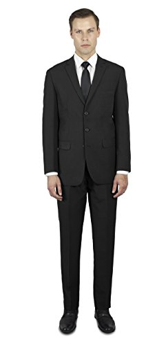 Alain Dupetit Men's Three Button Suit 34S Black