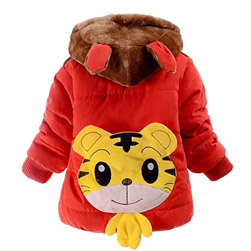 Jojobaby Baby Boys Kids Cartoon Hooded Snowsuit Winter Warm Fleece Hooded Down Windproof Jacket Outerwear Coat (0-6 Months, Red)