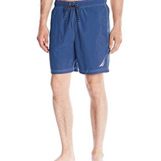 Nautica Men's Quick Dry Solid Swim Trunk, Blue, Large