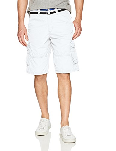 Southpole Men's Mini Canvas Basic Cargo Shorts, White Stripebelt, 32