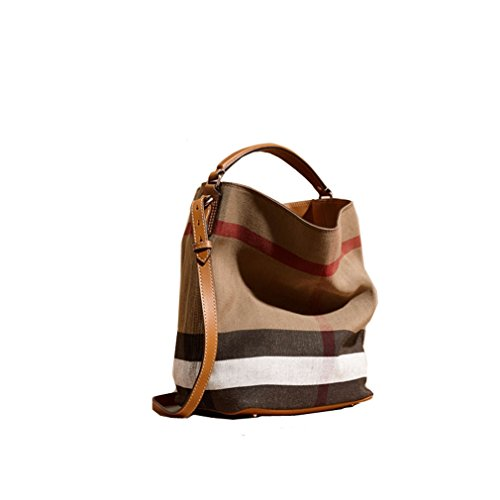 Fashionable Brand Burberry The Ashby - Medium Canvas Check Pattern Leather Eshibe Handbags Brown