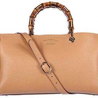 Gucci women's leather handbag shopping bag purse bamboo beige