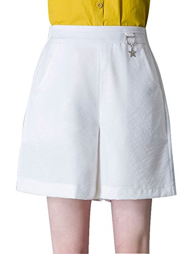 Chartou Women's Elastic Waist High-Rise Baggy A-Line Bermuda Stretch Shorts (Medium, White)