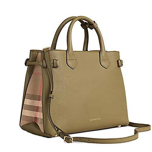 Tote Bag Handbag Burberry Medium Banner in Leather and House Check PALE PISTACHIO GREEN Item