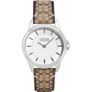 Coach Womens Classic Signature Fabric Leather Strap Watch