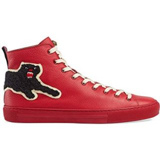 Gucci Men's Major Panther Patch Leather High Top Sneaker, Red (9 US/8.5 UK)