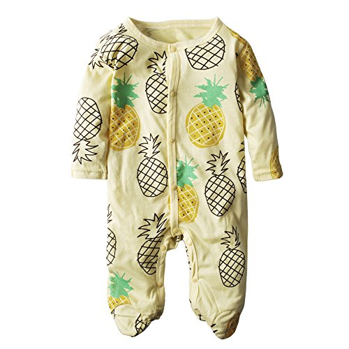 BIG ELEPHANT Boys'1 Piece Fruit Print Long Sleeve Romper Pajama J61 9-12 Months