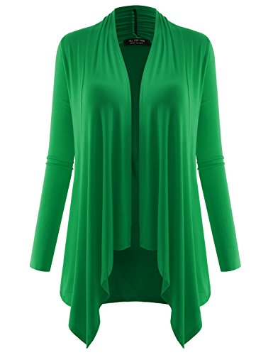 A.F.Y All For You Women's Long Sleeve Flowy Open Cardigan Kelly Green XX-Large