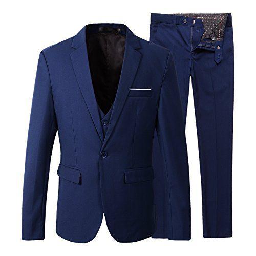 Benibos Men's Slim Fit Suit Blazer Jacket Tux Vest Pants 3 Pieces Suit Set (L, 305Navy)