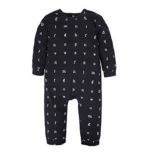 BIG ELEPHANT Baby Boys'1 Piece Long Sleeve Letters Print Romper Jumpsuit Black 9-12 Months