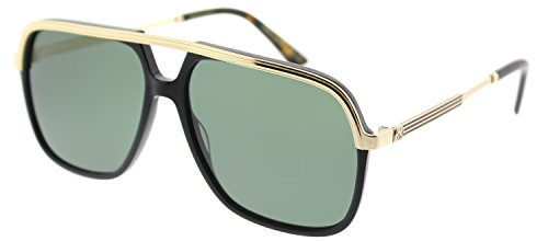 Gucci Black/Gold Square Pilot Sunglasses Lens Category 3