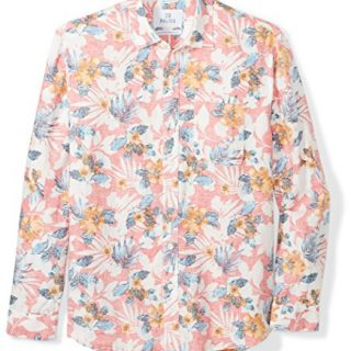 28 Palms Men's Relaxed-Fit Long-Sleeve 100% Linen Reverse Print Shirt, Washed Coral Floral, Large