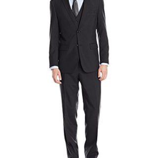 Alain Dupetit Men's Three Piece Two Button Suit, Black, 44 Long/38 Waist