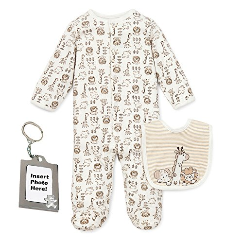 Little Me Safari Jungle Animal Footed Sleeper and Keychain Ivory Preemie