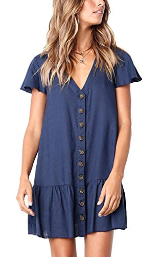 Angashion Women's Dresses-Short Sleeve V Neck Button T Shirt Midi Skater Dress with Pockets 0953 Navy Blue L