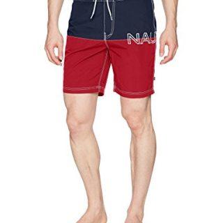 Nautica Men's Quick Dry Half Elastic Waist Colorblock Swim Trunk, Red, Large