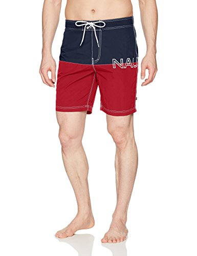 Nautica Men's Quick Dry Half Elastic Waist Colorblock Swim Trunk, Red, Large