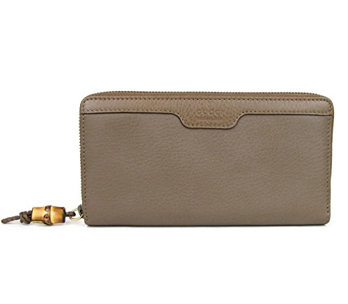 Gucci Women's Leather Wallet Around Zip Hip Bamboo Clutch (Maple Brown)