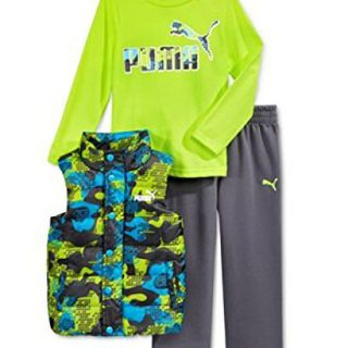 PUMA Kids Baby Toddler Boy's Three Piece Set Hoodie or Vest, T-Shirt, Pants Sets (18 Month, Vest Set - Acid Yellow/Grey)