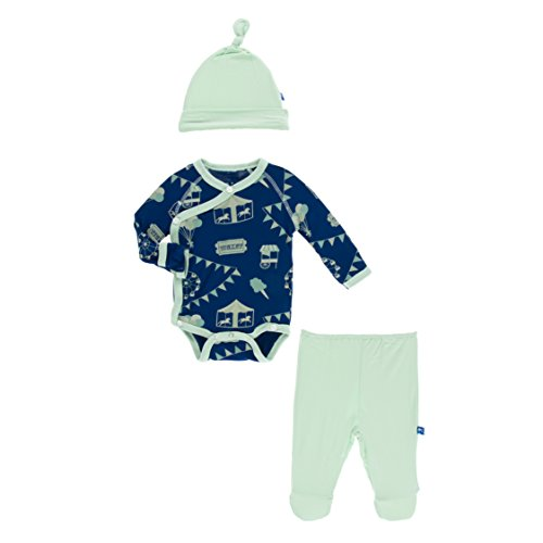 Kickee Pants Little Boys Kimono Newborn Gift Set With Elephant Box - Flag Blue Carnival, 3-6 Months