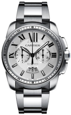 Cartier Calibre Men's Automatic Chronograph Watch with Stainless Steel Bracelet