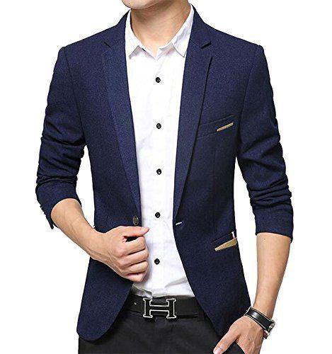 Benibos Men's Premium Casual 1 Button Slim Fit Blazer Suit Jacket (S, 619Navy)
