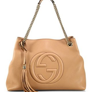 Gucci Camelia Camel Pebbled Leather Soho Shoulder Hand Bag Tassel