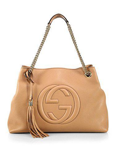 Gucci Camelia Camel Pebbled Leather Soho Shoulder Hand Bag Tassel