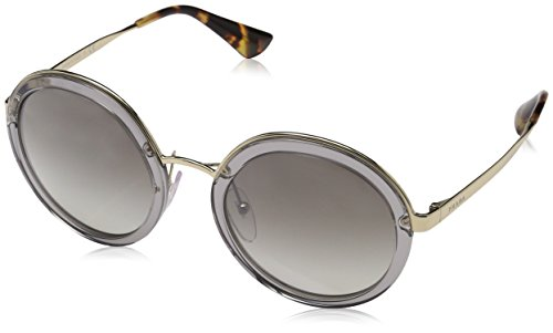 Prada Women's Transparent Round Sunglasses, Transparent Grey/Grey, One Size