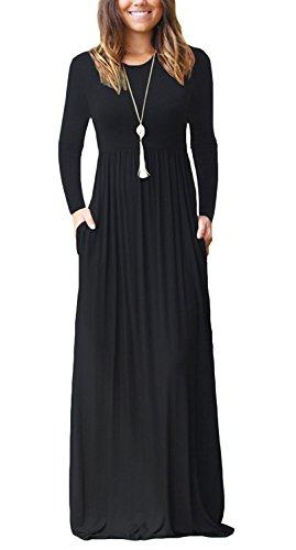 AUSELILY Women Long Sleeve Loose Plain Long Maxi Casual Dress With Pockets (2XL, Black)