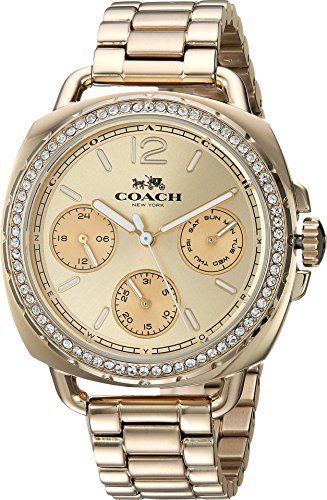Coach Womens Tatum Gold Tone Stainless Crystal Glitz Watch