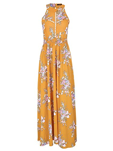 BerryGo Women's Chic Sleeveless Backless Halter Floral Print Maxi Dress Polyester,Yellow,S