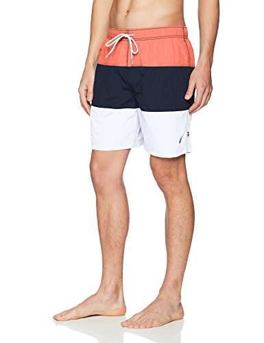 Nautica Men's Quick Dry Color Block Swim Trunk (t71007), Spiced Coral, Medium