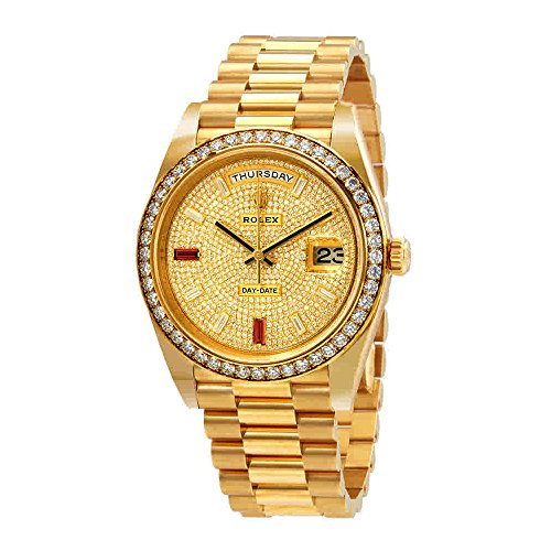Rolex Day-Date 40 Automatic Gold Diamond Pave Dial Mens 18kt Yellow Gold President Watch