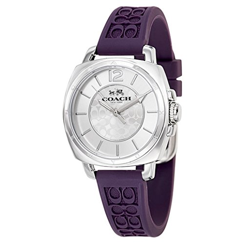 Coach Womens Mini Boyfriend Signature Purple Strap Silver Tone Watch
