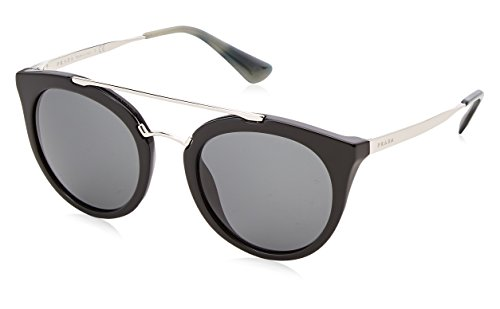 Prada Black / Gunmetal 23Ss Round Sunglasses Lens Category 3 Size 5