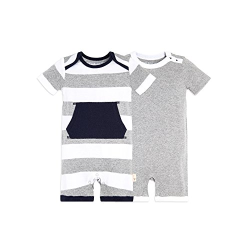 Solid 0-3 Burt/'s Bees Baby Unisex Baby 2-Pack Organic One-Piece Romper Coverall