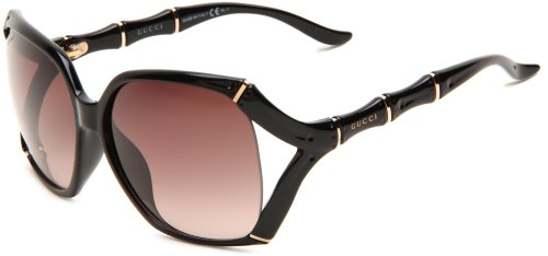 Gucci Women's 3508/S Rectangle Sunglasses,Shiny Black Frame/Brown Gradient Lens,One Size