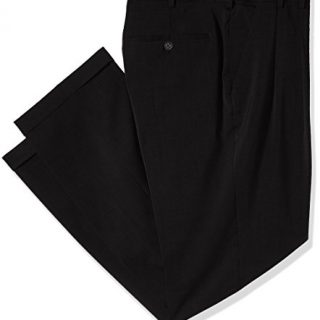 Van Heusen Men's Big and Tall Traveler Stretch Pleated Dress Pant, Black, 40W X 34L