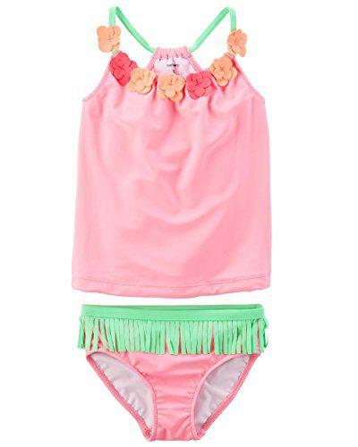 Carter's Girls' Short Sleeve Rash Guard Swimsuit Set (Baby/Toddler/Kid) (4-5, Hawaiian Tankini)