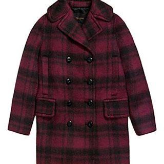 Coach Plaid Long Peacoat Coat L