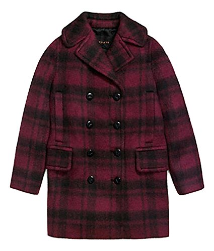 Coach Plaid Long Peacoat Coat L
