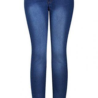 2LUV Women's Stretchy 5 Pocket Dark Denim Skinny Jeans Blue Denim 5