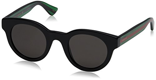 Gucci Unisex Fashion Sunglasses, Black, 46mm