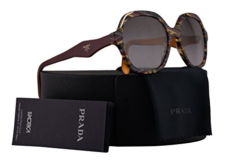 Prada Sunglasses Havana Ears Bordeaux Yellow w/Grey Gradient 52mm Lens