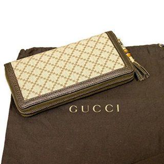 Gucci Bamboo Bronze Diamante Canvas Clutch Zip Around Wallet