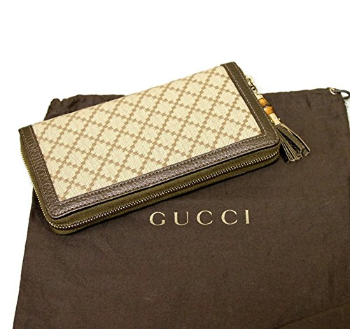 Gucci Bamboo Bronze Diamante Canvas Clutch Zip Around Wallet